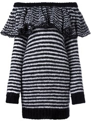 Philosophy Di Lorenzo Serafini Striped Ruffle Off Shoulder Dress Black
