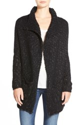 Velvet By Graham And Spencer Marled Knit Open Front Cardigan Black