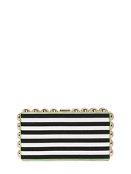 Dsquared Striped Cotton Canvas And Ayers Box Clutch Blue White