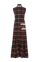 Alessandra Rich Boucle Tweed Dress With High Neck And Full Skirt Black