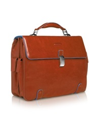 Piquadro Blue Square Leather 15 Laptop Briefcase Orange