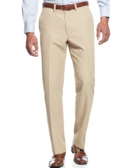 Haggar Straight Fit Flat Front Performance Microfiber Dress Pants Tan