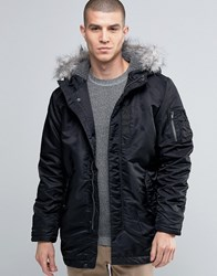Selected Homme Parka Jacket With Faux Fur Hood Black
