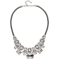 Adele Marie Crystal Beads Statement Mesh Necklace Silver Clear