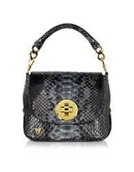 Ghibli Mini Python Crossbody Bag W Detachable Shoulder Strap Dark Gray