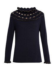 Alex Gore Browne Carnival Wool And Cashmere Blend Sweater Navy