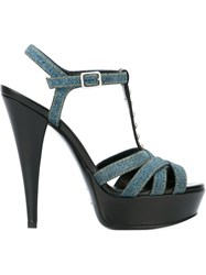 Saint Laurent Denim Platform Sandals Blue
