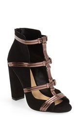 Women's By Zendaya 'Albert' Strappy Cutout Bootie Black Bronze Suede