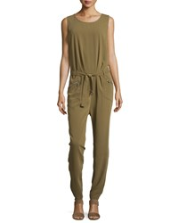 Neiman Marcus Sleeveless Pleated Zip Pocket Jumpsuit Caperberry