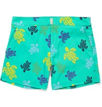 Vilebrequin Merise Turtle Print Mid Length Swim Shorts Green