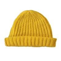 Lowie Mohair Ribbed Fisherman's Beanie In Yellow