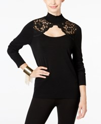 Thalia Sodi Lace Trim Cutout Sweater Only At Macy's Deep Black