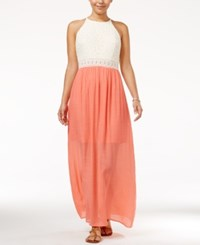 Amy Byer Bcx Juniors' Crochet Maxi Dress Bright Coral