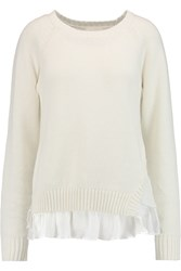 Clu Ruffled Silk And Linen And Cotton Blend Sweater White