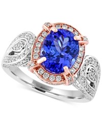 Effy Collection Tanzanite 2 7 8 Ct. T.W. And Diamond 3 8 Ct. T.W. Two Tone Ring In 14K Rose Gold And 14K White Gold Purple