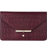 Lk Bennett Ada Croc Embossed Leather Shoulder Bag Red Merlot
