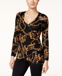 Thalia Sodi Printed Faux Wrap Sweater Only At Macy's Deep Black Combo