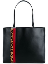 Tomasini Striped Shopper Tote Black