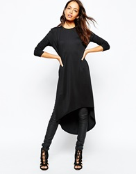 Daisy Street Long Sleeve Tunic With Side Splits Black