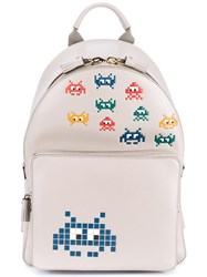 Anya Hindmarch Space Invaders Mini Leather Backpack Grey Multi Coloured