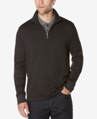 Perry Ellis Men's Jacquard Quarter Zip Sweater Charcoal