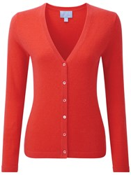 Pure Collection Melissa Cashmere V Neck Cardigan Poppy Red