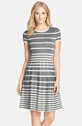 Gabby Skye Stripe Fit And Flare Sweater Dress Charcoal Cream