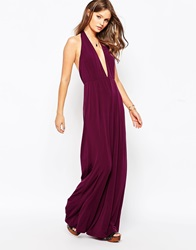 Glamorous Halter Neck Jumpsuit With Wide Leg Plum