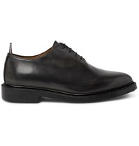Thom Browne Whole Cut Distressed Leather Oxford Shoes Black