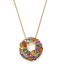 Bloomingdale's Multi Sapphire And Diamond Pendant Necklace In 14K Yellow Gold 17