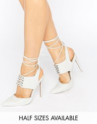 Asos Patrol Lace Up Pointed Heels White