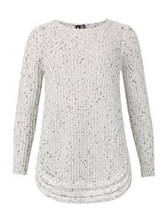 Izabel London Ribbed Knitted Jumper With Rounded Hem White