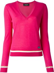 Dsquared2 V Neck Sweater Pink And Purple