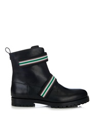 Christopher Kane Striped Strap Leather Ankle Boots