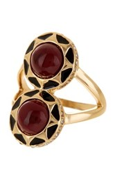 House Of Harlow Double Dome Merlot Enamel Ring Size 5 Metallic