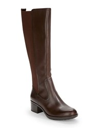 Bandolino Balmana Leather Knee High Boot Dark Brown