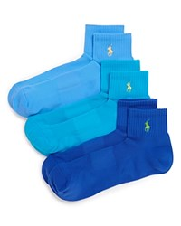 Ralph Lauren Quarter Sport Socks Pack Of 3 Royal Turq Greenwich Blue