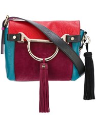 Borbonese Colour Block Tassel Shoulder Bag Red