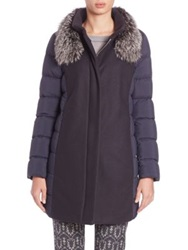 Peserico Fur Trimmed Mixed Media Puffer Coat Navy