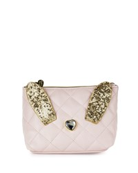 Betsey Johnson Disco Bunny Quilted Cosmetic Bag Blush