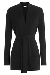 Closed Belted Cardigan With Wool And Cashmere Black