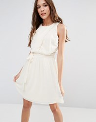 Lavand Pleated Skirt Skater Dress In White Black