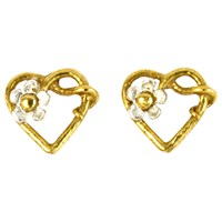 Alex Monroe 22Ct Gold Plated Sterling Silver Baby Posy Heart Stud Earrings Gold