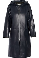 Adam By Adam Lippes Hooded Leather Coat Navy