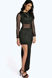 Boohoo Mara Mesh Panelled Side Slit Maxi Black