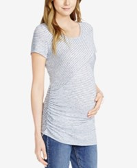 Jessica Simpson Maternity Striped Tee Blue