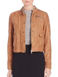 Set Leather Bomber Jacket Cognac