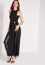 Missguided Longline Split Tunic Black Black