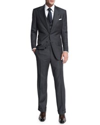 Tom Ford Windsor Base Sharkskin Three Piece Suit Charcoal