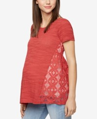 A Pea In The Pod Maternity Lace Back T Shirt Vintage Red